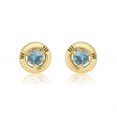 14K Yellow Gold Kid's Stud Earrings - Topaz Circle - Small