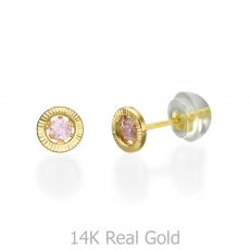 14K Yellow Gold Kid's Stud Earrings - Circle of Dawn - Small