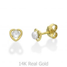 14K Yellow Gold Kid's Stud Earrings - Pearl of Charm