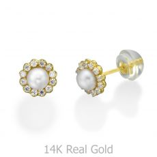 14K Yellow Gold Kid's Stud Earrings - Sparkling Pearl