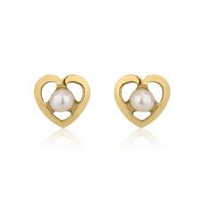 14K Yellow Gold Kid's Stud Earrings - Chantelle Pearl