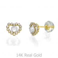 14K Yellow Gold Kid's Stud Earrings - Marilyn Pearl