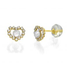 Stud Earrings in 14K Yellow Gold - Marilyn Pearl