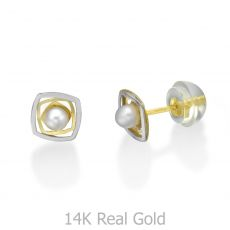 Stud Earrings in 14K Yellow Gold - Lucy Pearl