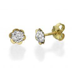 Stud Earrings in 14K Yellow Gold - Flower of Olivia