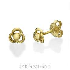14K Yellow Gold Kid's Stud Earrings - Flower of Milly