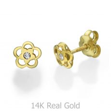 Stud Earrings in 14K Yellow Gold - Anette Flower
