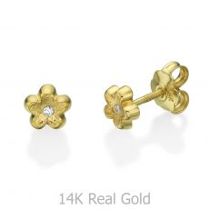 14K Yellow Gold Kid's Stud Earrings - Flower of Barbara