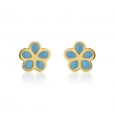 14K Yellow Gold Kid's Stud Earrings - Flowering Daisy - Blue