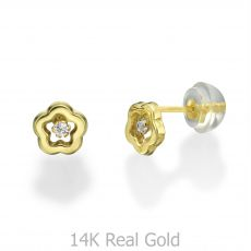 14K Yellow Gold Kid's Stud Earrings - Spring Flower