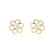 14K Yellow Gold Kid's Stud Earrings - Flower of Florian - Large