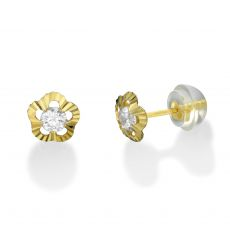 14K Yellow Gold Kid's Stud Earrings - Flower of Elizabeth