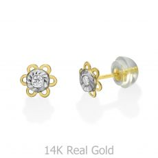 Stud Earrings in 14K Yellow Gold - Golden Daisy Flower