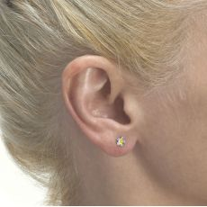 14K Yellow Gold Kid's Stud Earrings - Flower of Shelley