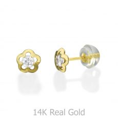 Stud Earrings in 14K Yellow Gold - Jasmine Flower - Small