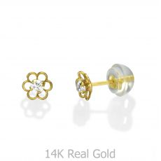 14K Yellow Gold Kid's Stud Earrings - Flower of Florian - Small