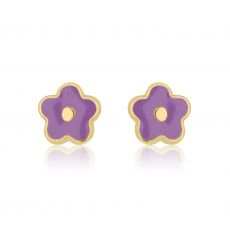 14K Yellow Gold Kid's Stud Earrings - Lilac Flower