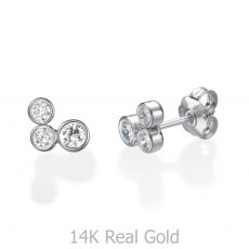 14K White Gold Kid's Stud Earrings - Sparkling Circles