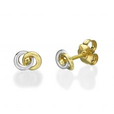 Stud Earrings in 14K White & Yellow Gold - Linked Circles