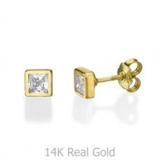 14K Yellow Gold Kid's Stud Earrings - Sparkling Square - Large