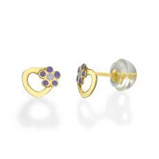 14K Yellow Gold Kid's Stud Earrings - Daisy Heart - Lilac