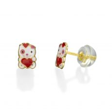 14K Yellow Gold Kid's Stud Earrings - Doll of Love
