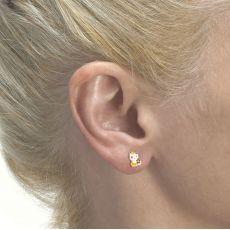 Stud Earrings in 14K Yellow Gold - Charming Cat