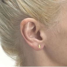14K Yellow Gold Kid's Stud Earrings - Cute Teddy
