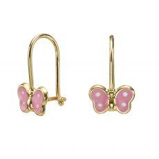 Dangle Earrings in14K Yellow Gold - Noah Butterfly