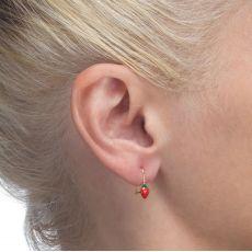 Dangle Earrings in14K Yellow Gold - Strawberry Berry