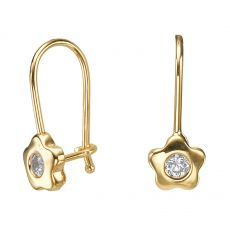 Dangle Earrings in14K Yellow Gold - Annabelle Flower