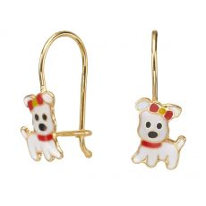 Dangle Earrings in14K Yellow Gold - Joyful Pup