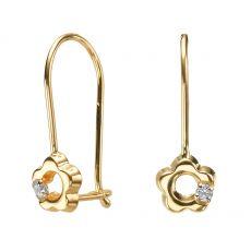 Dangle Earrings in14K Yellow Gold - Hope Flower