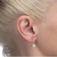 Dangle Earrings in14K Yellow Gold - Shining Pearl