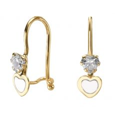 Dangle Earrings in14K Yellow Gold - Triple Love Heart