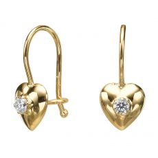 Dangle Earrings in14K Yellow Gold - Supergirl Heart