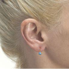 Dangle Earrings in14K Yellow Gold - Torti Tortoise - Light Blue
