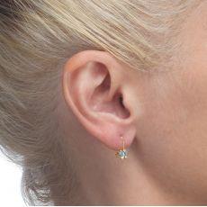 Dangle Earrings in14K Yellow Gold - Gila Flower - Light Blue