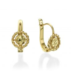 Dangle Tight Earrings in14K Yellow Gold - Aurora Flower