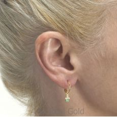 Hoop Earrings in14K Yellow Gold - Colored Circles
