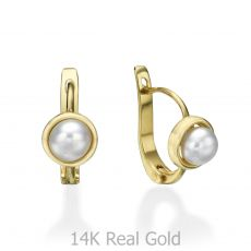 Dangle Tight Earrings in14K Yellow Gold - Pearl of Nicki
