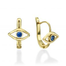 Dangle Tight Earrings in14K Yellow Gold - The Blue Eye