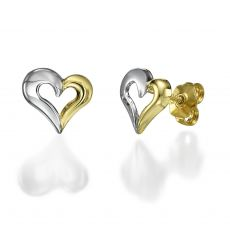 Stud Earring in White & Yellow Gold - United Heart