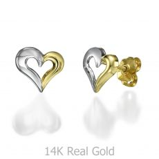 Stud Earrings in 14K White & Yellow Gold - United Heart