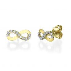 14K Yellow Gold Teen's Stud Earrings - Infinite Glamour