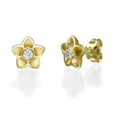 Stud Earrings in 14K Yellow Gold - Flowery
