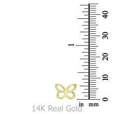 14K Yellow Gold Women's Earrings - Light Butterfly