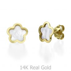 14K Yellow Gold Women's Earrings - Mother of Pearl Flower