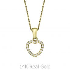 Pendant and Necklace in Yellow Gold - Royal Heart