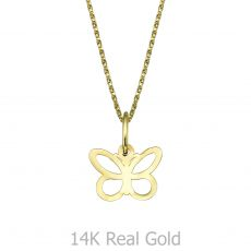 Pendant and Necklace in Yellow Gold - Fluttering Butterfly